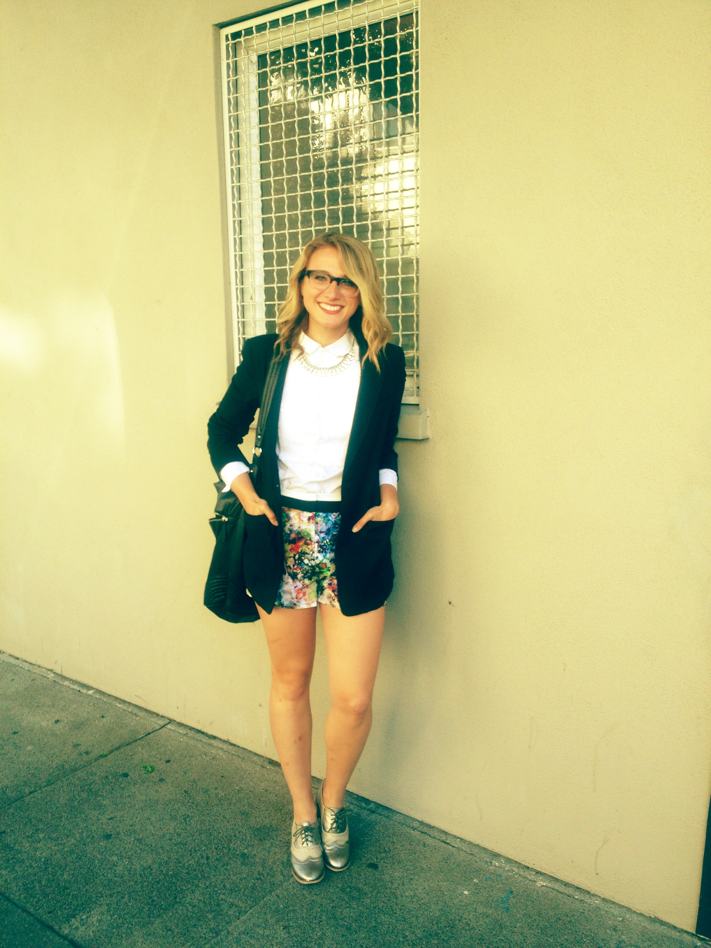 Blazer: Off Fifth | Shirt: H&M | Shorts: F21 | Shoes: DSW | Necklace: F21