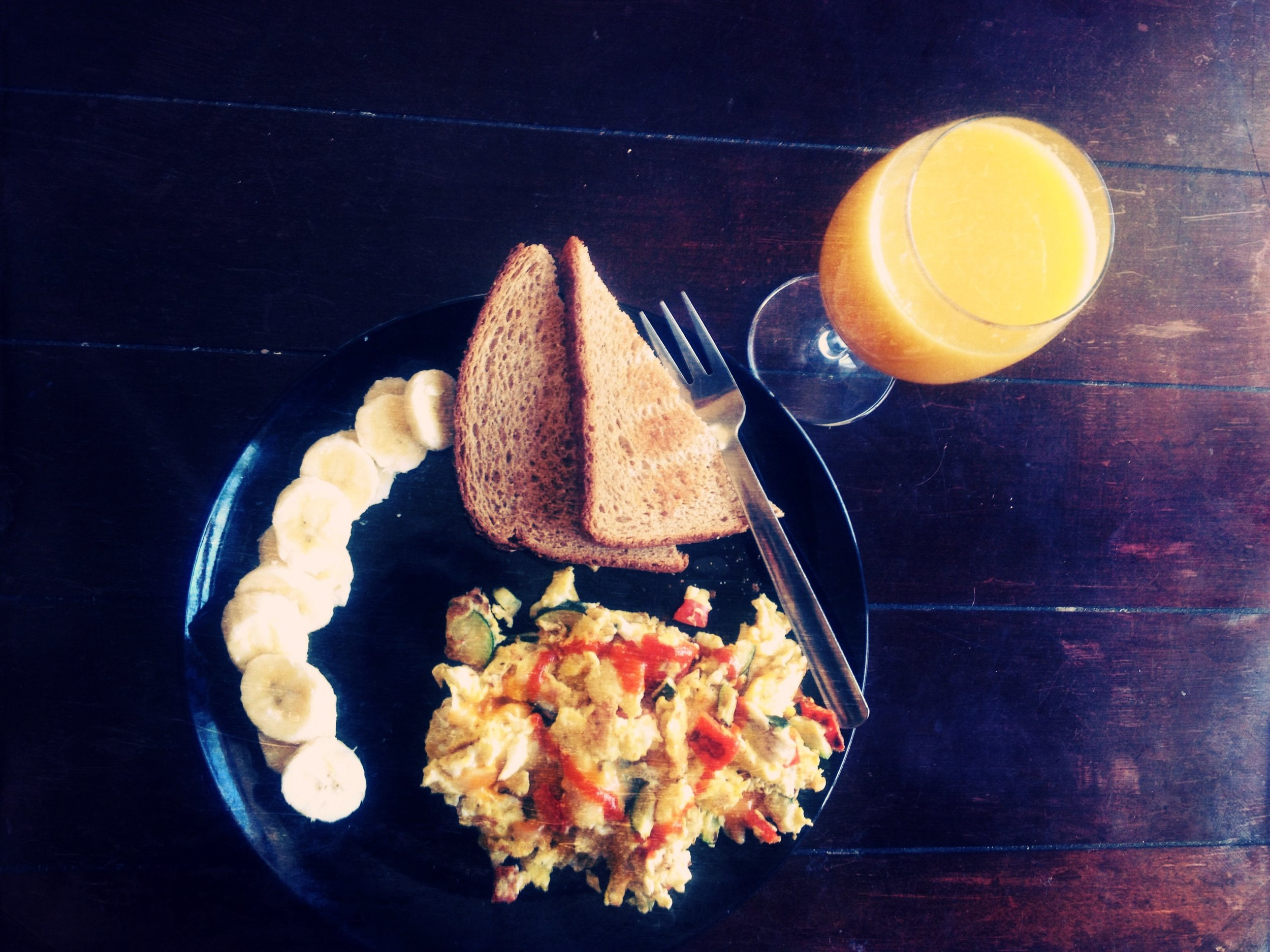 Homemade breakfast complete with a Sriracha heart on my eggs!