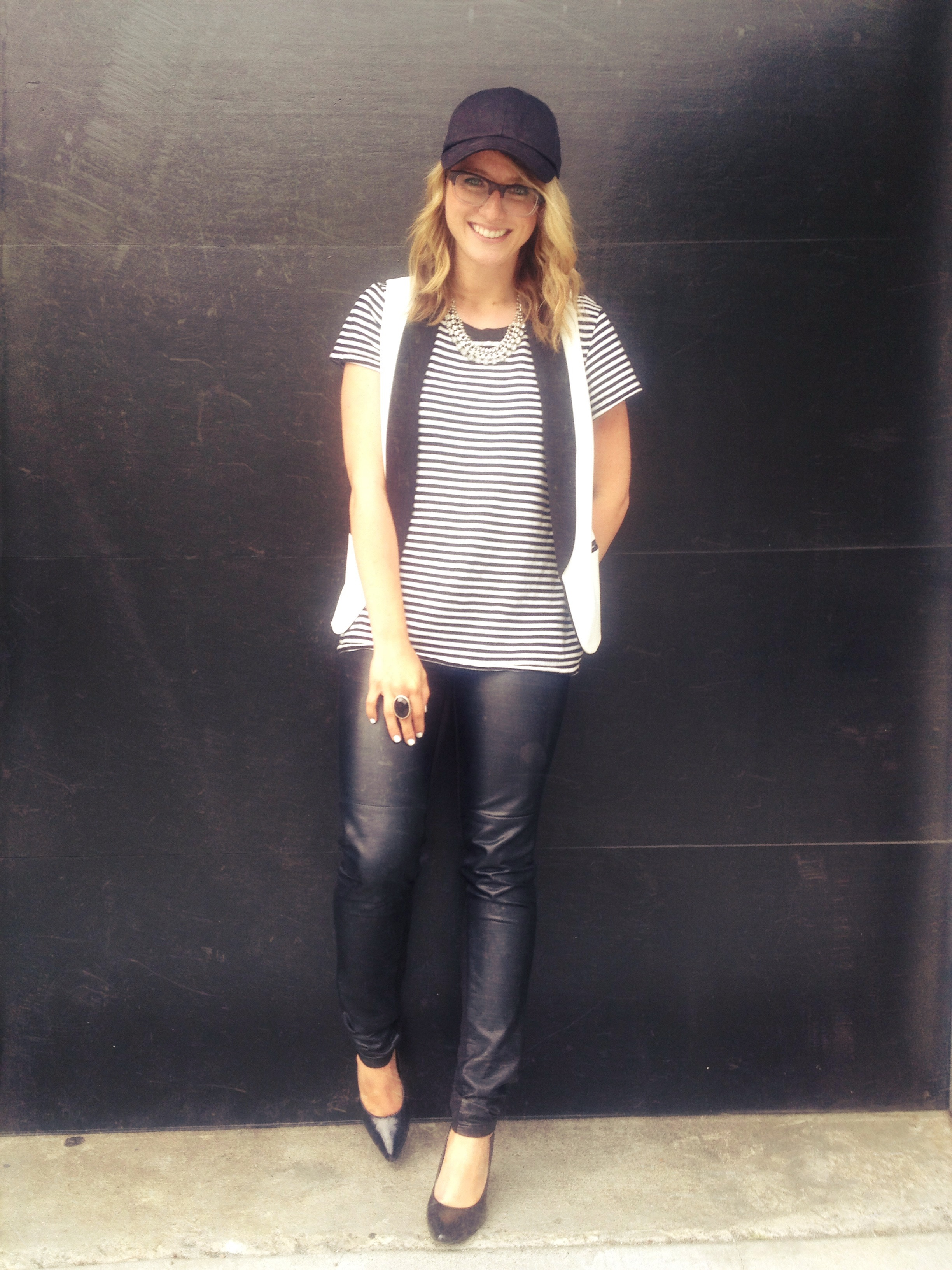 Leather Leggings: H&M | Striped Shirt: Gap | Vest: F21 | Necklace: F21 | Hat: H&M | Shoes:  Target | Ring: F21