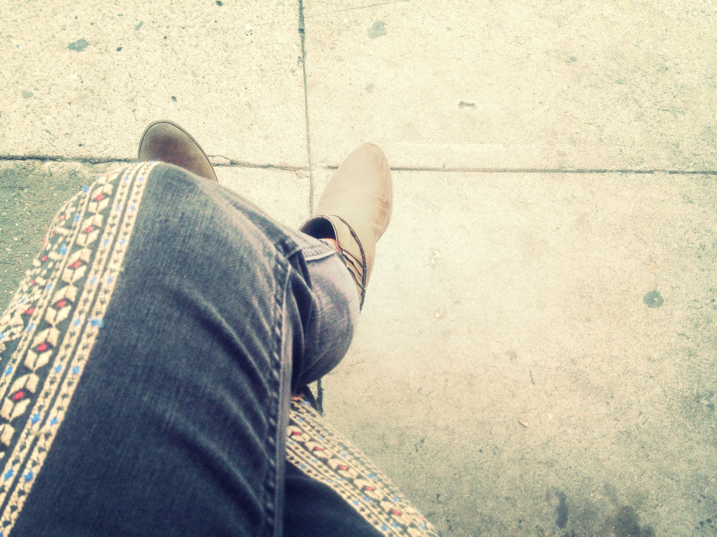 My weekend outfit go-to: Embroidered denim and boots.