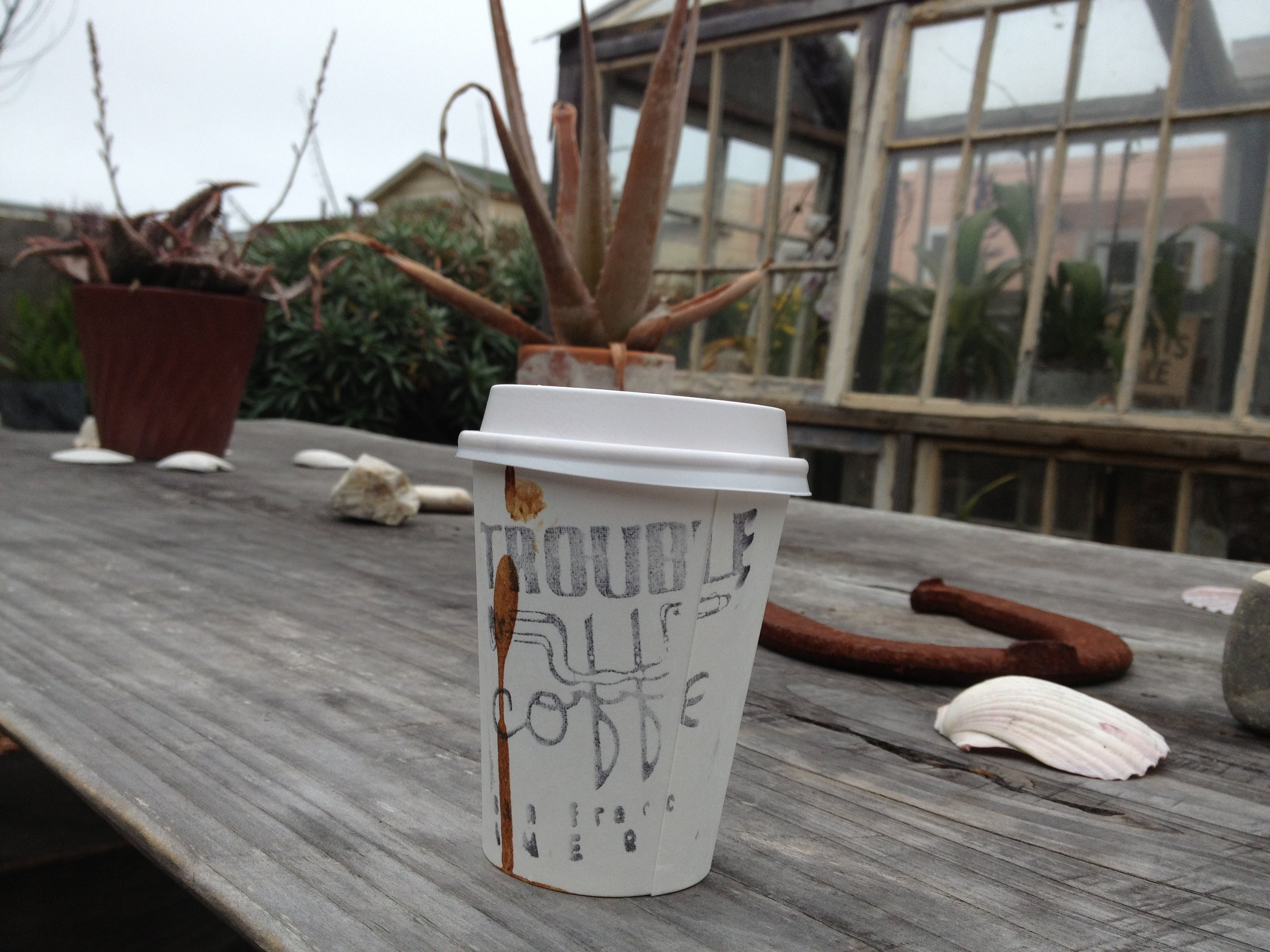 Sunday brunch adventures -- trying glorious coffee at Trouble Coffee while sitting outside.