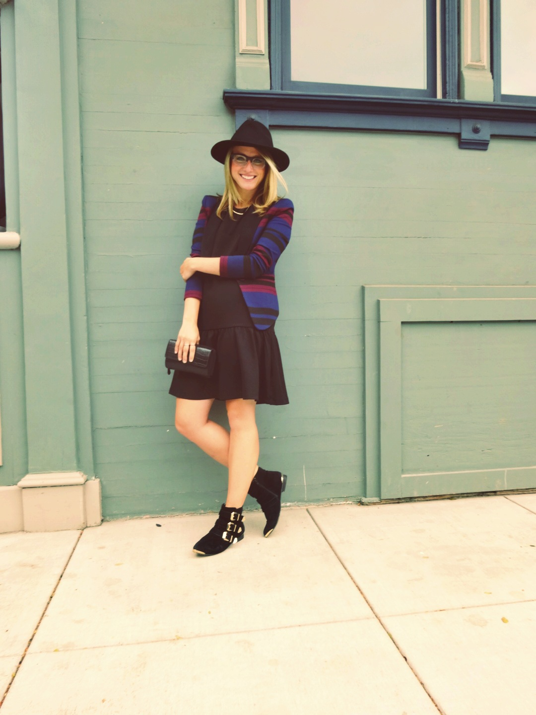 Hat: Hats of the Fillmore | Dress: H&M | Blazer: BCBG Generation | Shoes: Aldo