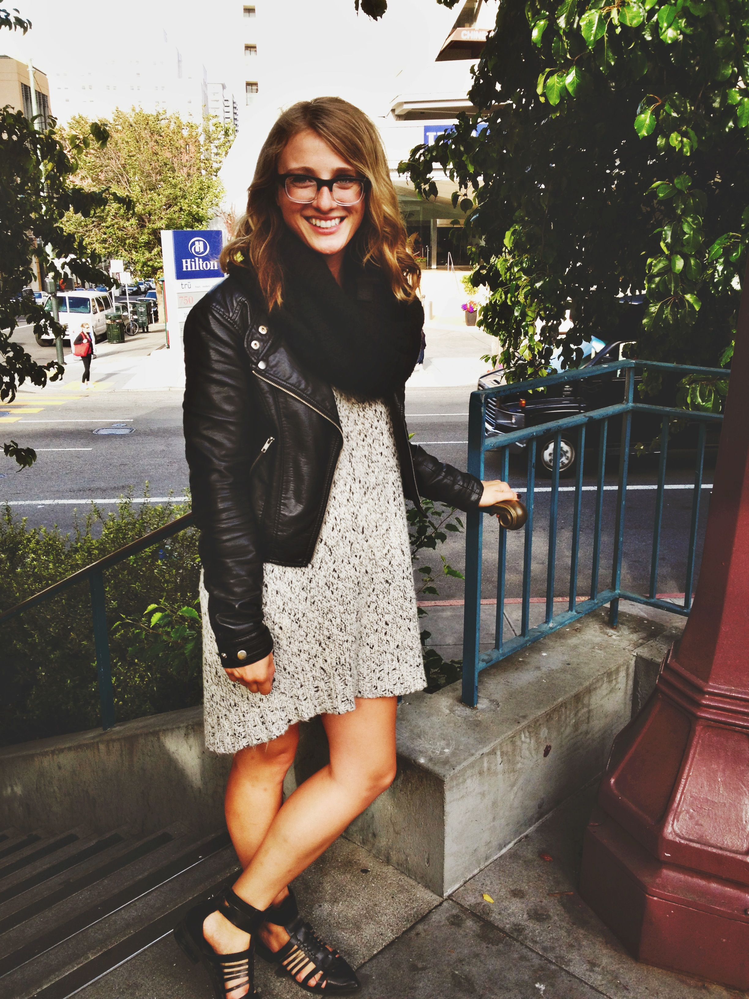 Jacket: F21 | Sweater Dress: H&M | Scarf: Macy's | Shoes: Zara