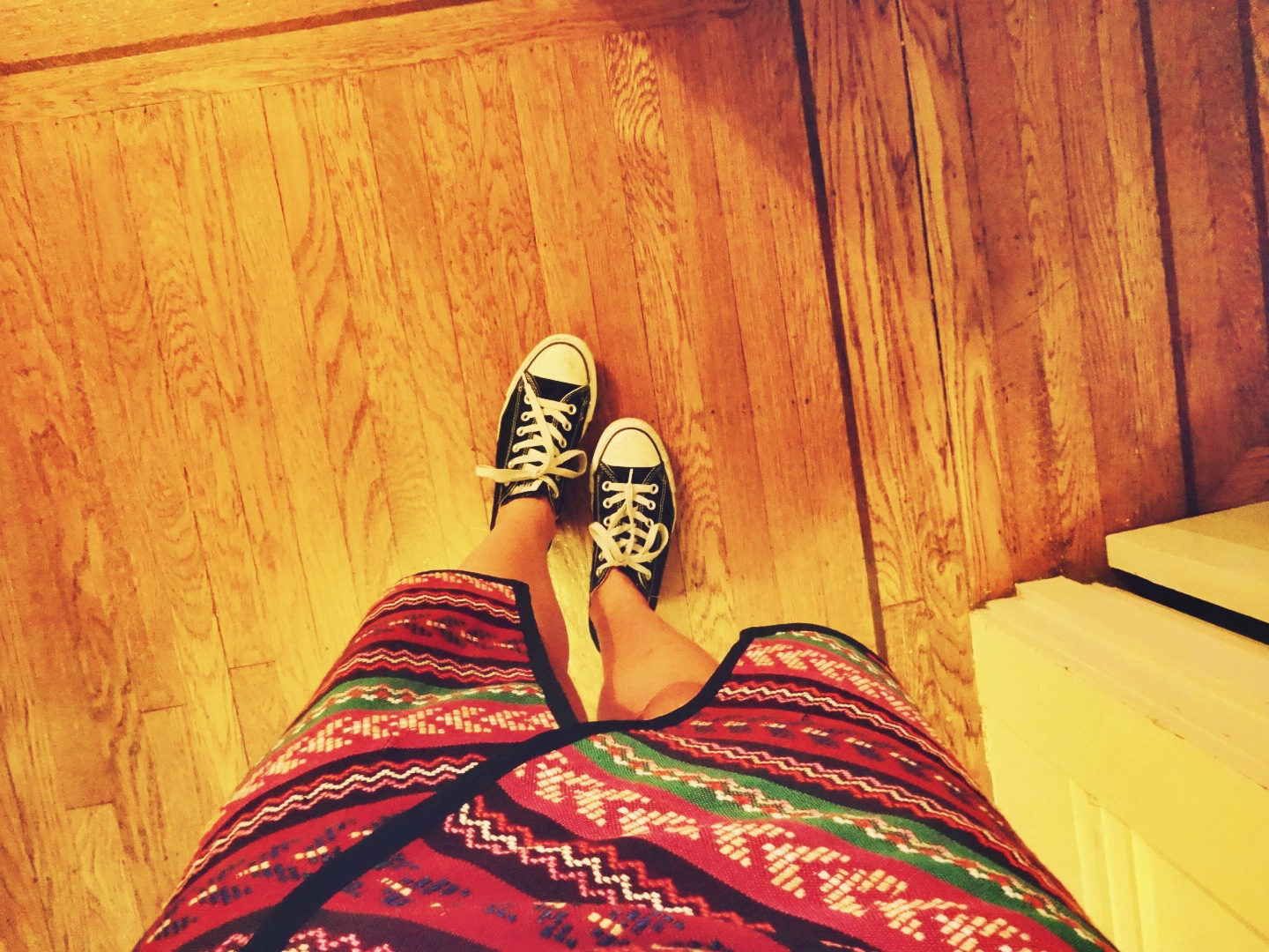 Never met a crazy pattern I didn't like. Skirt: Bar III via Macy's | Shoes: Converse