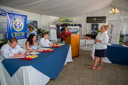 Crewmembers onboard participating yachts at the 2015 Newport Charter Yacht Show are judged for best charter chef. (Photo Credit Newport Charter Yacht Show/Billy Black).