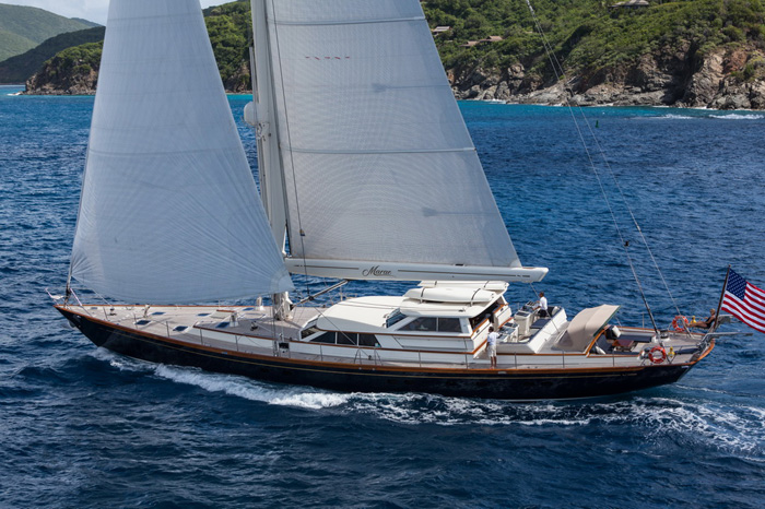 The 108-foot  Marae is the largest sailing vessel (to date) in the show. (photo credit: Nicholson Yachts / Jeff Brown)