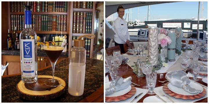 "Newport Charter Yacht Show hosted Tablescaping, Signature Cocktail, and Designer Water contests for crews: Blue Moon concocted a winning designer water along with a ""Dark Moon Martini"" made with Keel Vodka and designed a ""Rosé all Day"" table setting. (credit NCYS/Barby MacGowan)  Click photo to download in high resolution"
