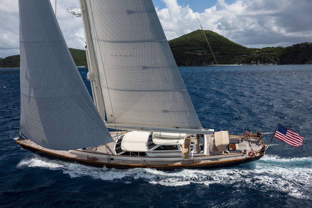 The 109-foot  Marae  is represented by Karen Kelly Shea and her team at Nicholson Yachts.