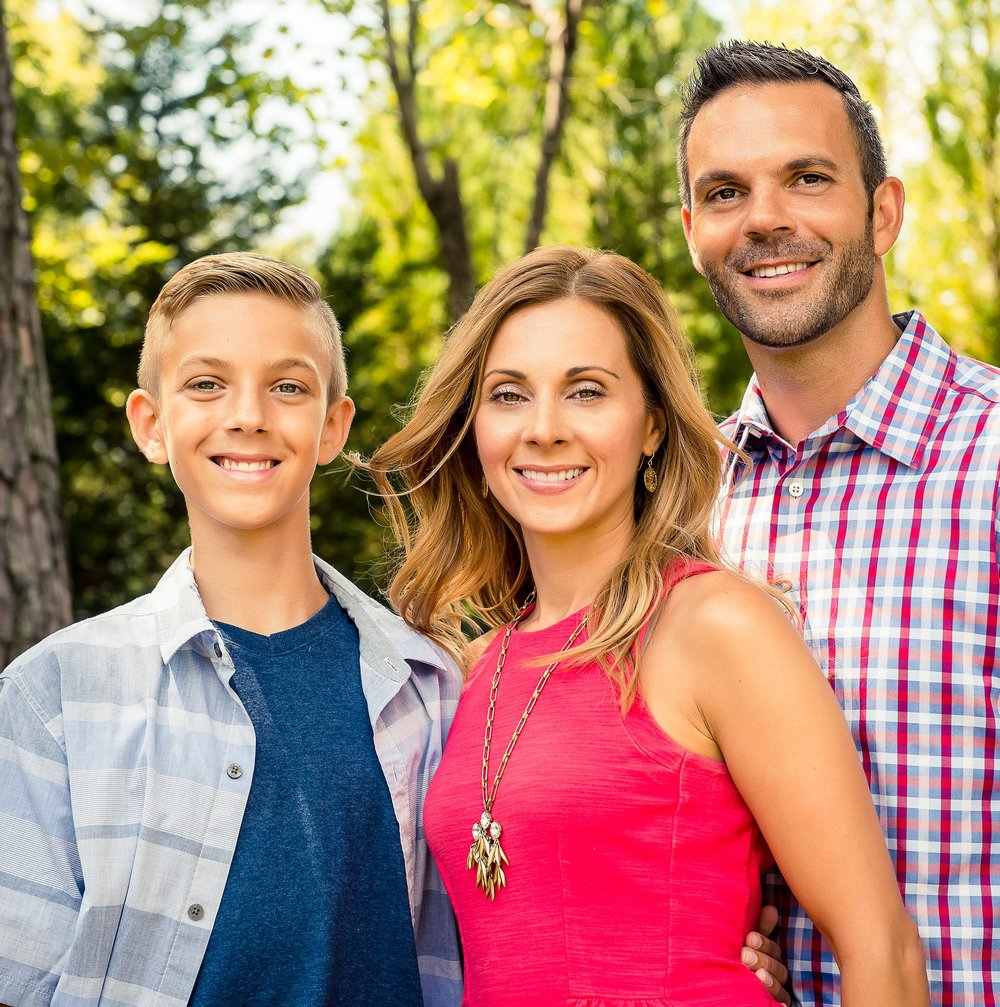 Tina with husband and 12-year-old son, Michael