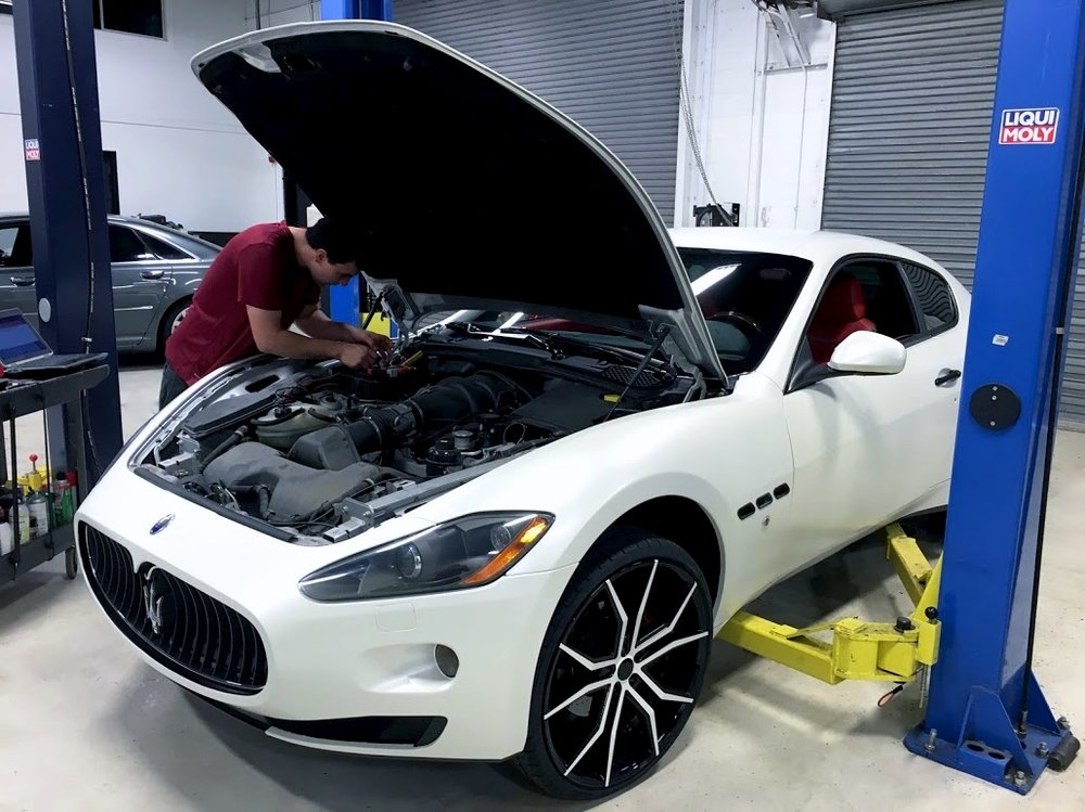 A beautiful Maserati in for maintenance.