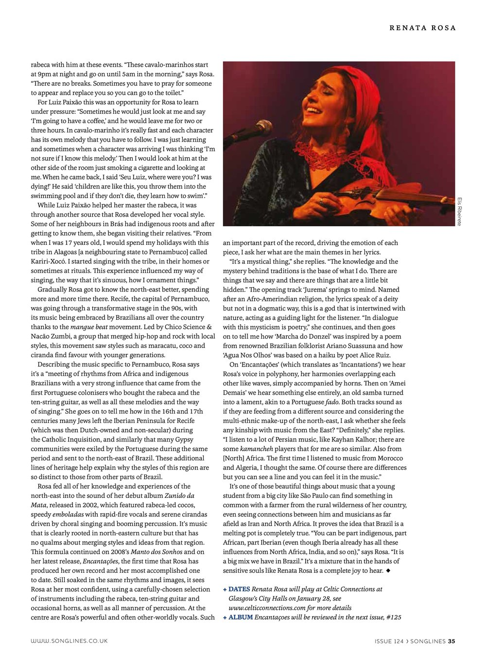 Songlines Magazine article, January 2017