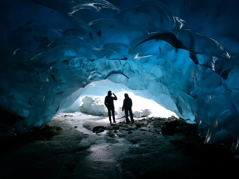 Gabe and Ash in the belly of the Mendenhall Glacier