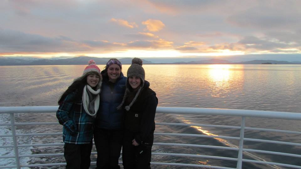 Wendy, Madi, Ashley on our first winter ferry trip.  December 2013.