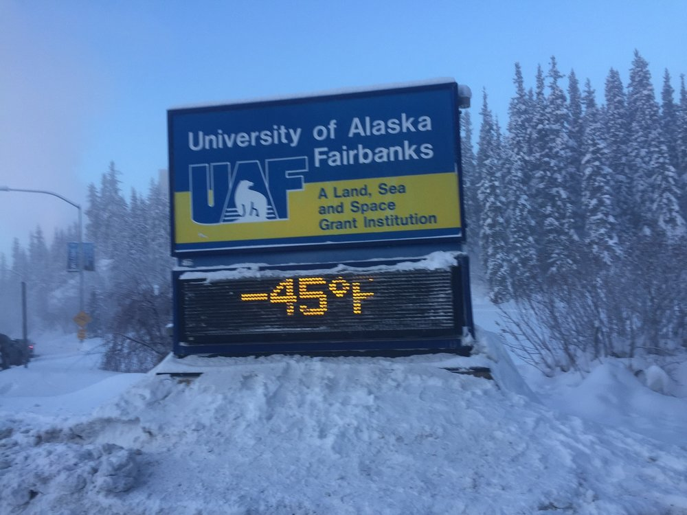 Sign in Fairbanks the day after completing our most recent trip.