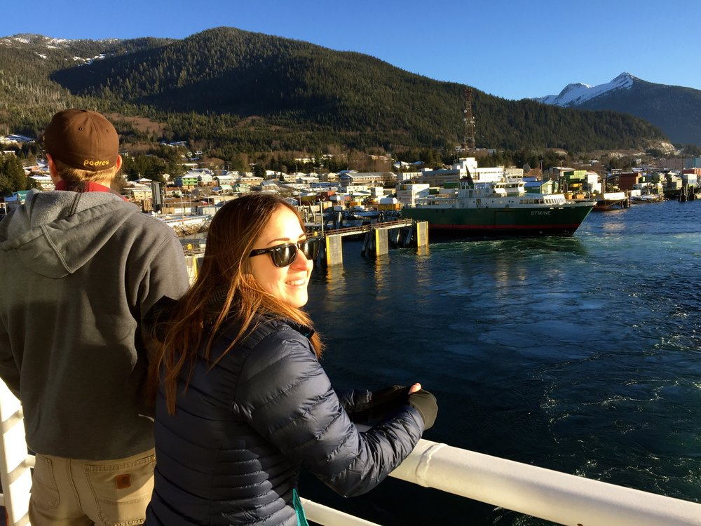 David and Chels, departing Ketchikan, AK on a gorgeous day