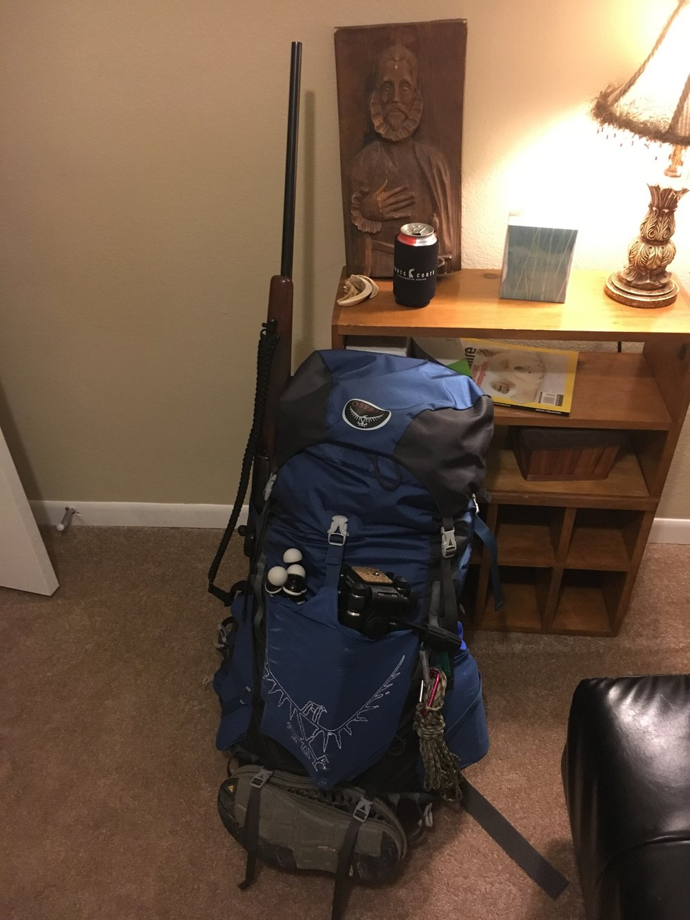 Everything packed nicely into the Osprey Volt 60