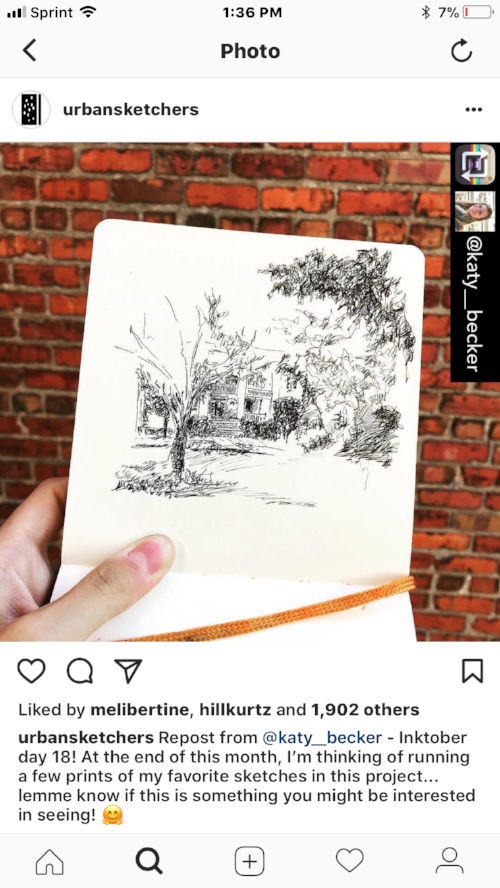 It actually led to getting featured by Urban Sketchers (a favorite group of mine!)