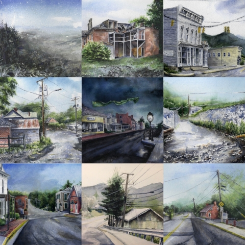 All nine paintings!  There is nothing like a super serious deadline to motivate the soul and create some artwork!