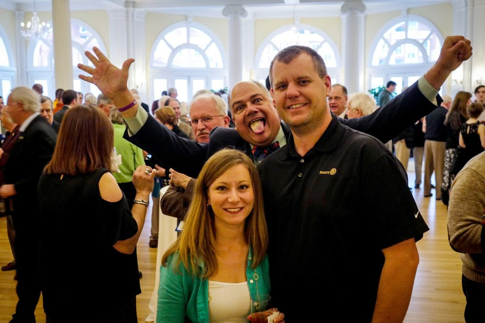 District Governor Chris Runion photobombing Troy Henson, Rotary Club of Forest