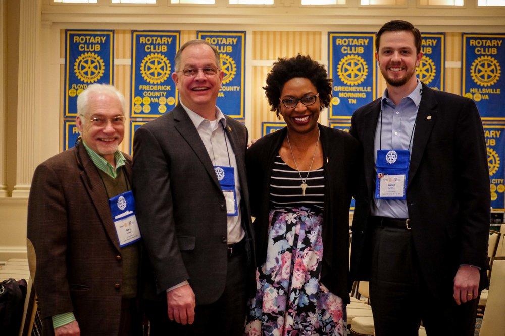 Assistant Governor Gary Christie, President Paul Rothfuss, President Nominee LaShonda Delivuk, & President Elect Aaron Van Allen