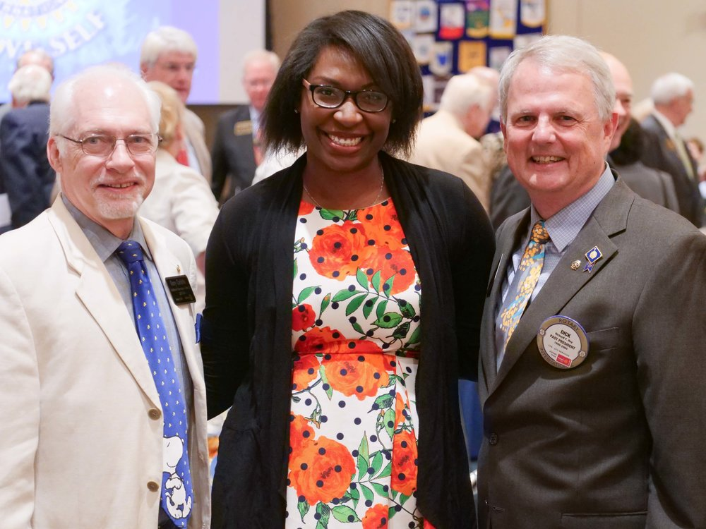 2017-2018 Assistant Governor Gary Christie &President Elect LaShonda Delivuk of the Rotary Club of Lynchburg Morning & District Governor Dick Ray
