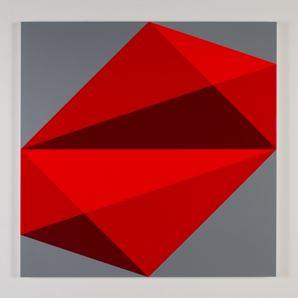 "Composition in 2662 Red, 2793 Red and 2240 Maroon Colored plexiglas mounted on panel 37.5"" x 37.5"" 2015"
