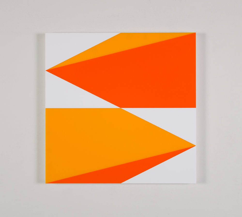 "Composition in 2016 Yellow, 2119 Orange and 3015 White Colored Plexiglas mounted on panel 22.5"" x 22.5"" 2016"