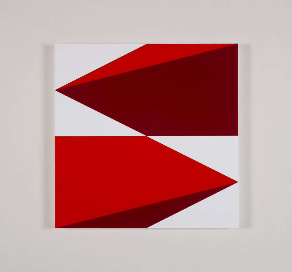 "Composition in 2793 Red, 2240 Maroon and 3015 White Colored Plexiglas mounted on panel 22.5"" x 22.5"" 2016"