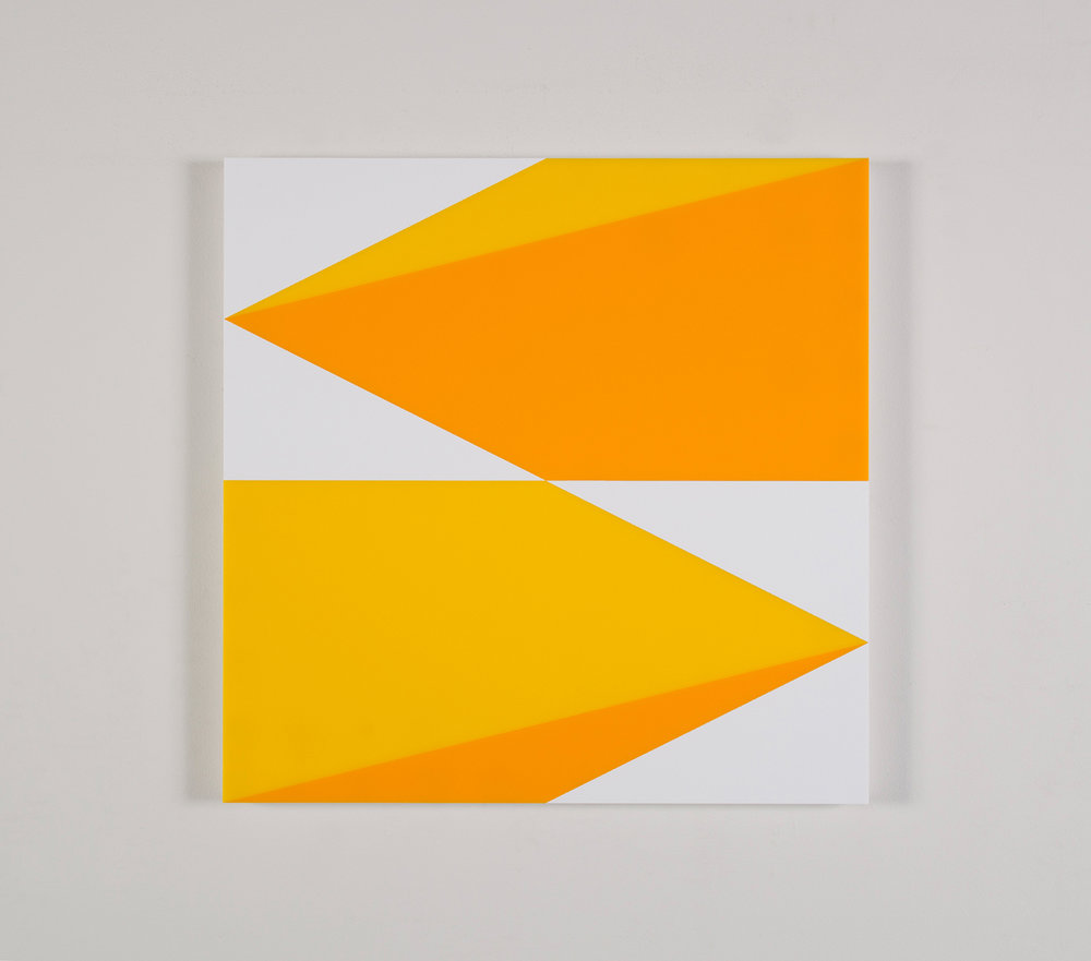 "Composition in 2465 Yellow, 2016 Yellow and 3015 White Colored Plexiglas mounted on panel 22.5"" x 22.5"" 2016"