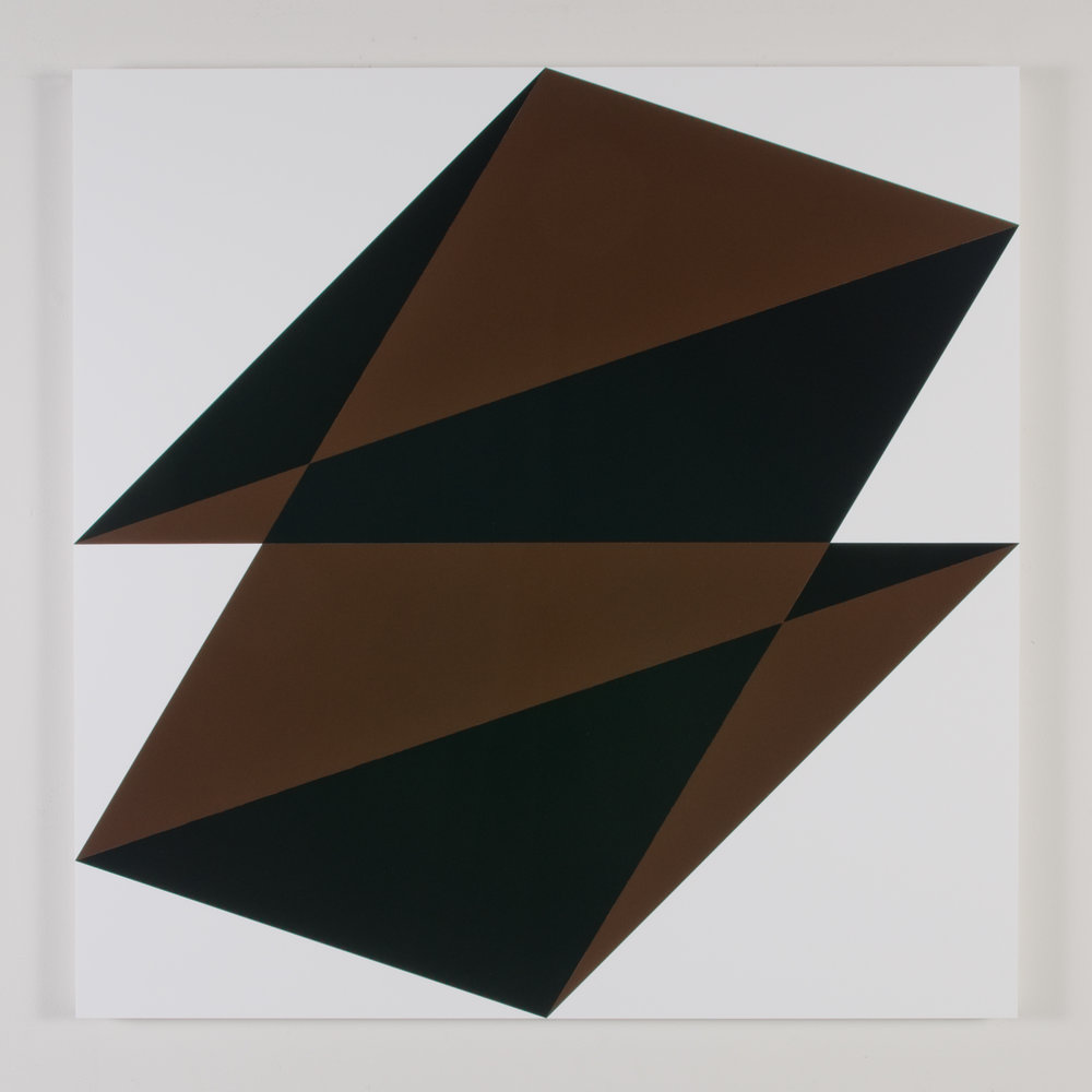 "Composition in 2148 Brown, 2025 Black and 3015 White Colored Plexiglas mounted on panel 37.5"" x 37.5"" 2015"