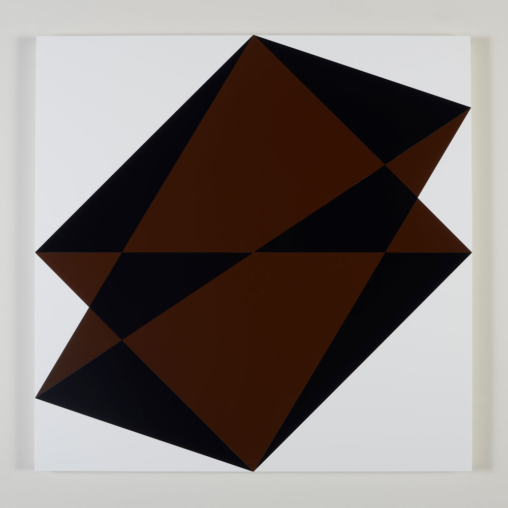 "Composition in 2148 Brown, 2025 Black and 3015 White Colored Plexiglas mounted on panel 30"" x 30"" 2014"