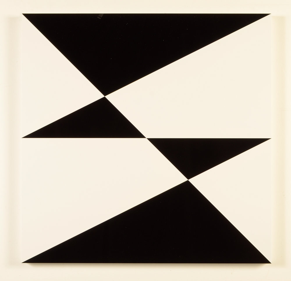"Composition in 2025 Black and 3015 White Colored Plexiglas mounted on panel 30"" x 30"" 2012"