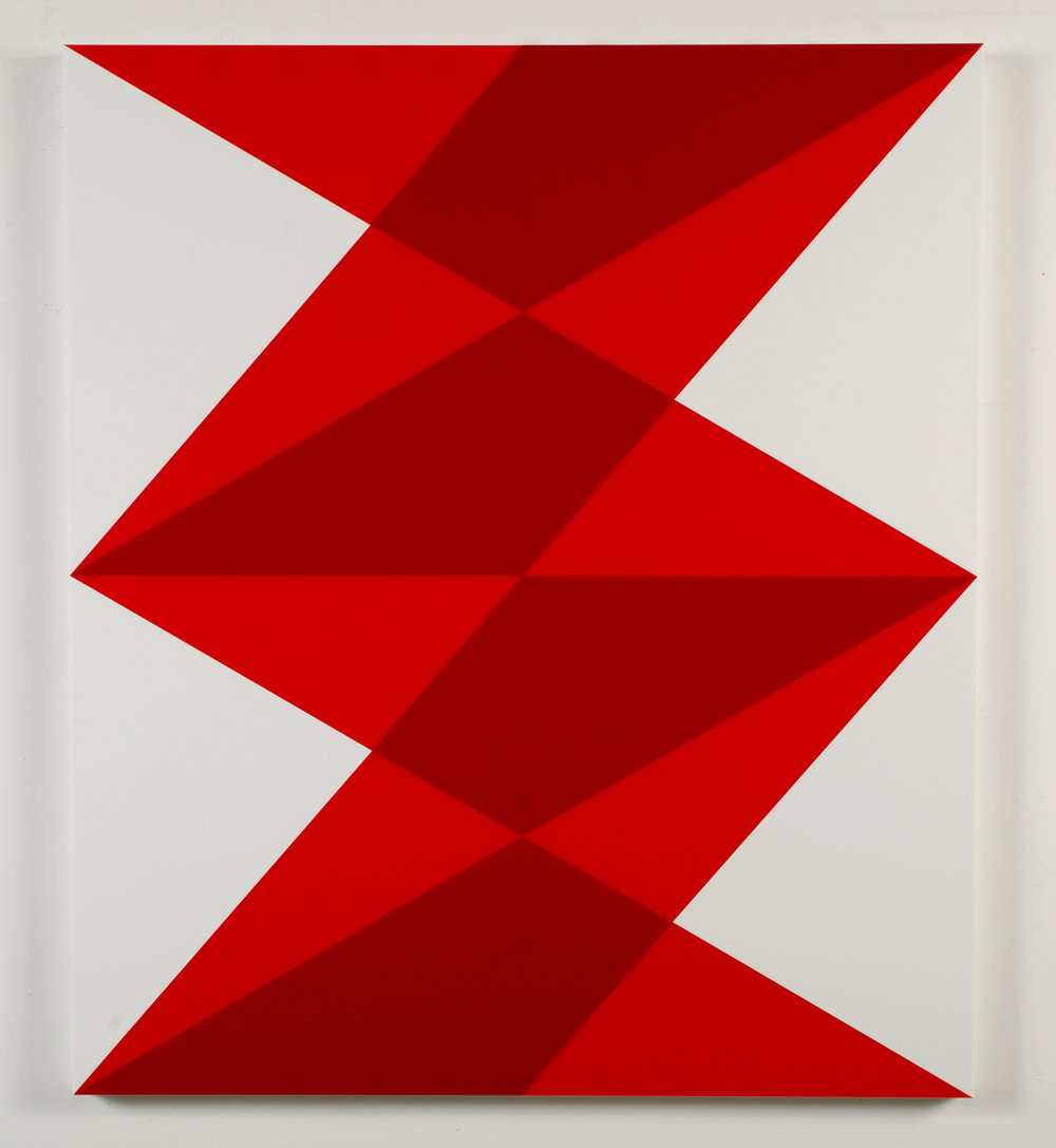 "Composition in 2662 Red, 2793 Red and 3015 White Colored Plexiglas mounted on panel 35"" x 30"" 2013"