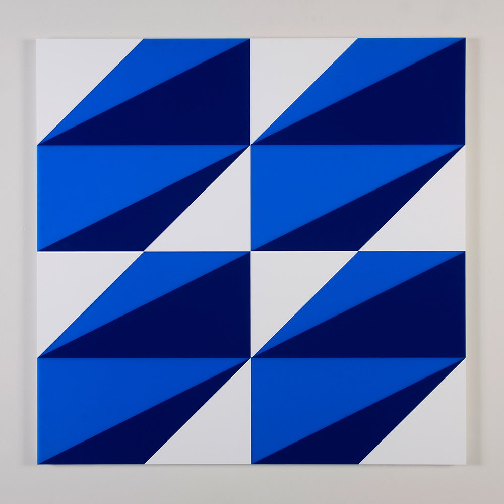 "Composition in 2648 Blue, 2114 Blue and 3015 White Colored Plexiglas mounted on panel 37.5"" x 37.5"" 2014"