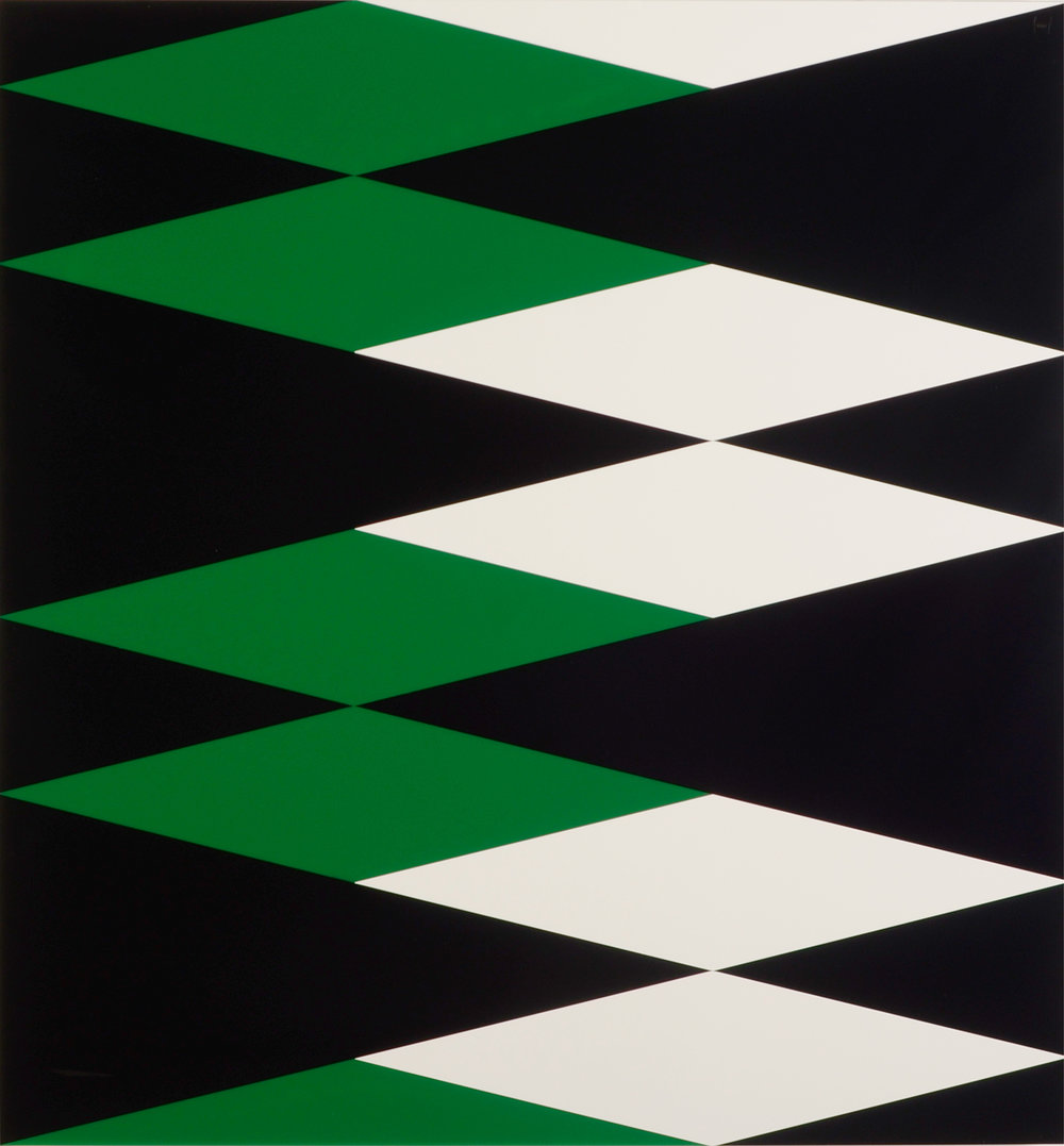 "Composition in 2108 Green, 3015 White and 2025 Black Colored Plexiglas mounted on panel 32.5"" x 30"" 2011"