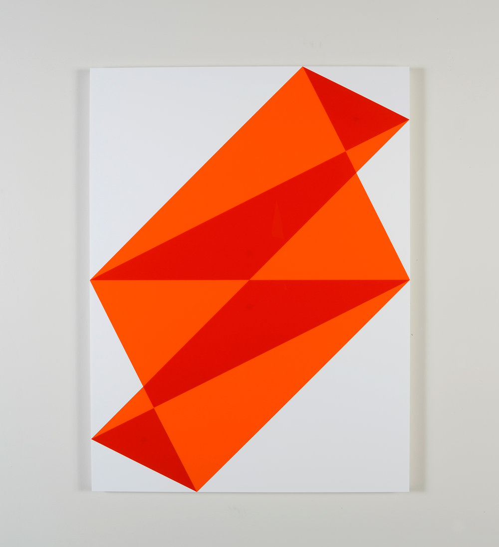 "Composition in 2119 Orange, 2662 Red and 3015 White Colored Plexiglas mounted on panel 40"" x 30"" 2014"