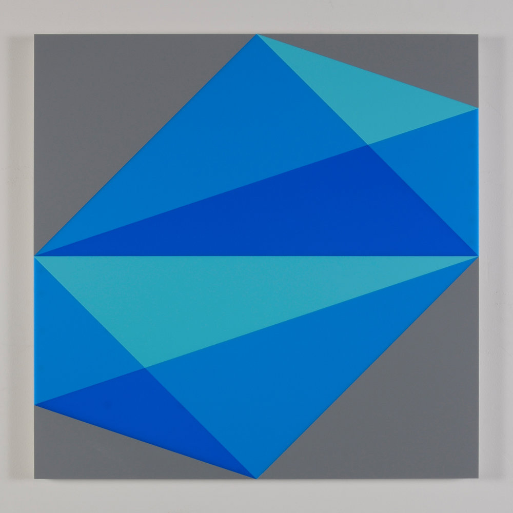"Composition in 2308 Turquoise, 2648 Blue, 2051 Blue and 3001 Gray Colored Plexiglas mounted on panel 30"" x 30"" 2015"
