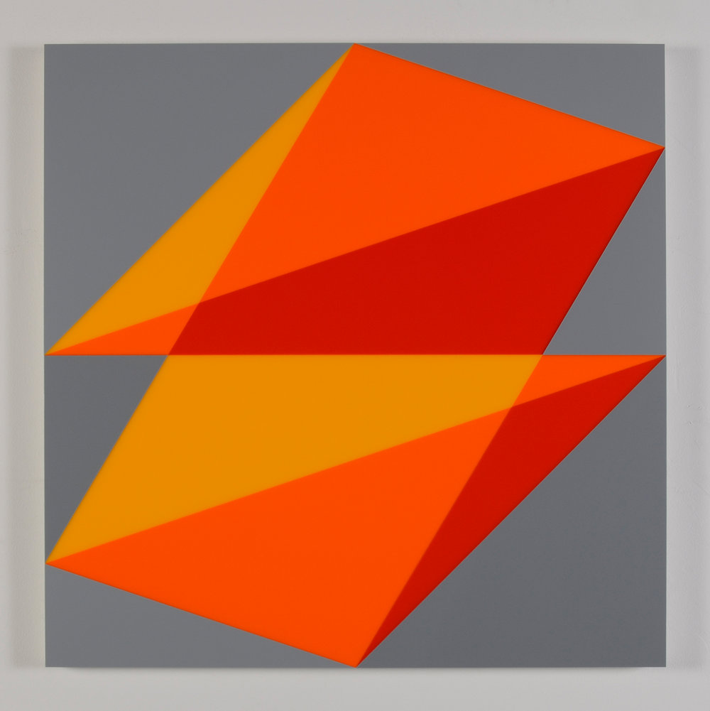 "Composition in 2016 Yellow, 2119 Orange, 2662 Red and 3001 Gray Colored Plexiglas mounted on panel 30"" x 30"" 2015"