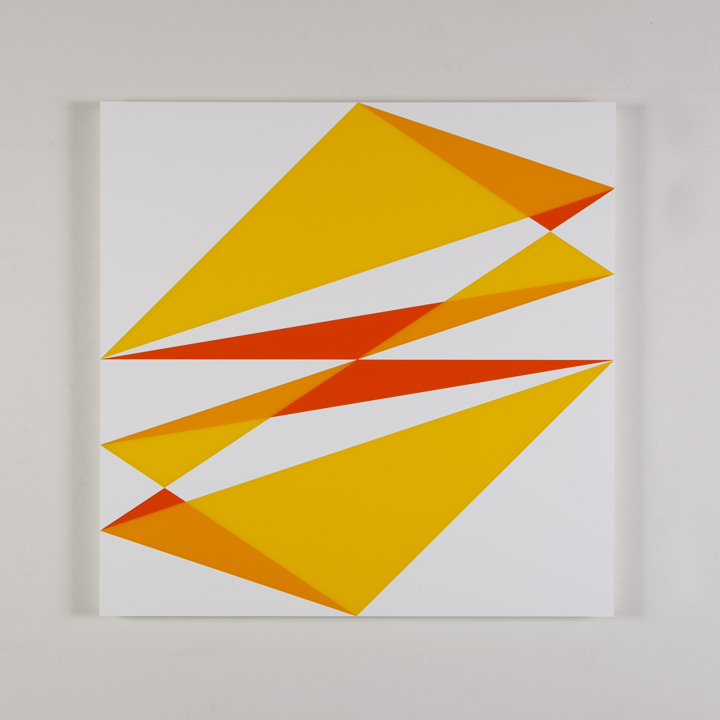 "Composition in 2465 Yellow, 2016 Yellow, 2119 Orange and 3015 White Colored Plexiglas mounted on panel 30"" x 30"" 2017"