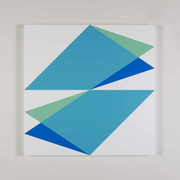 "Composition in 5700YT Aqua, 2308 Turquoise, 2648 Blue and and 3015 White Colored Plexiglas mounted on panel 30"" x 30"" 2017"