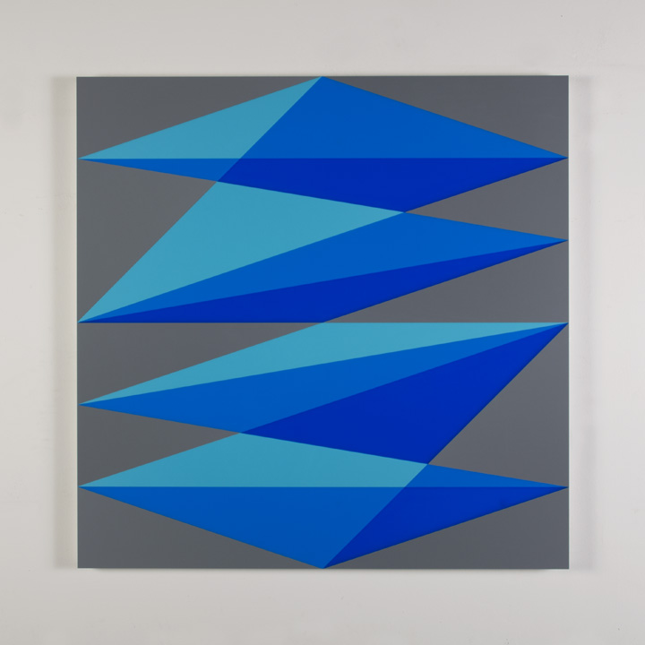 "Composition in 2308 Turquoise, 2648 Blue, 2051 Blue and 3001 Gray Colored Plexiglas mounted on panel 37 1/2 x 37 1/2"" 2017"