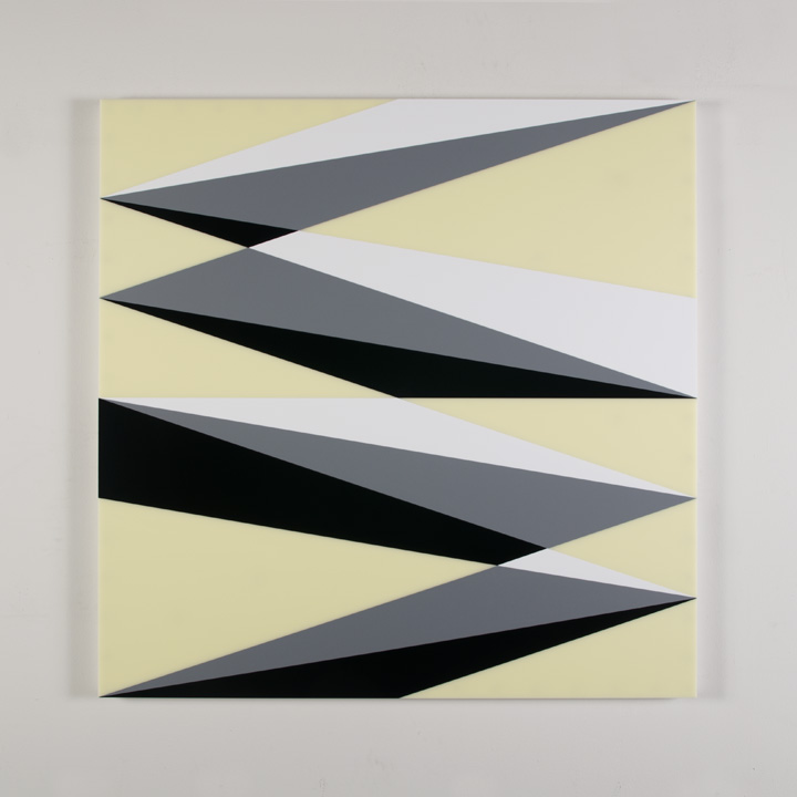 "Composition in 3015 White, 3001 Gray, 2026 Black and 2146 Ivory Colored Plexiglas mounted on panel 37 1/2 x 37 1/2"" 2017"