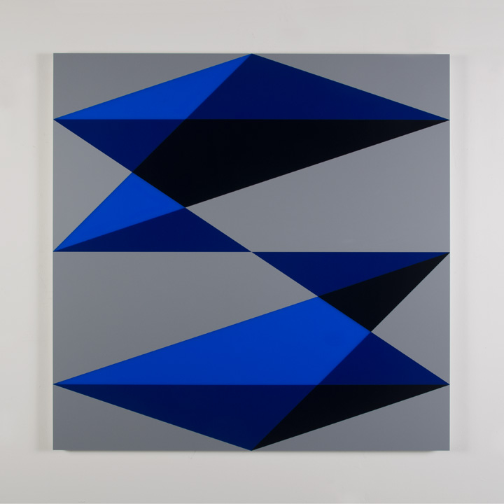 "Composition in 2050 Blue, 2114 Blue, 5295BA Indigo and 3001 Gray Colored Plexiglas mounted on panel 45"" x 45"" 2017"