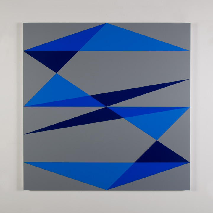 "Composition in 2648 Blue, 2050 Blue, 2114 Blue and 3001 Gray Colored Plexiglas mounted on panel 45"" x 45"" 2017"