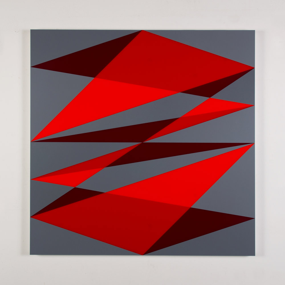 "Composition in 2662 Red, 2793 Red, 2240 Maroon and 3001 Gray Colored Plexiglas mounted on panel 37 1/2"" x 37 1/2"" 2017"