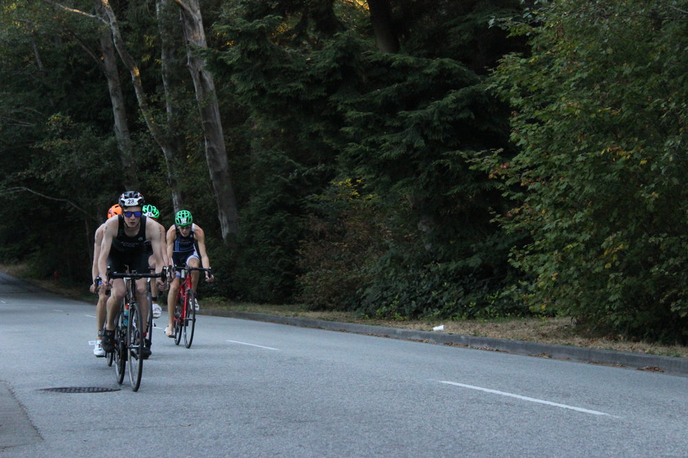 Triathletes racing in Vancouver Draft Legal Event