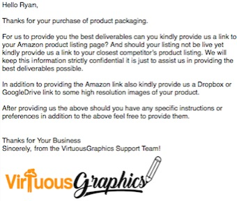 A graphic design with a white background image with a text letter to Ryan from Virtuous Graphics after he avails the graphic design with our graphic designer. Below the letter is a logo from Virtuous Graphics.