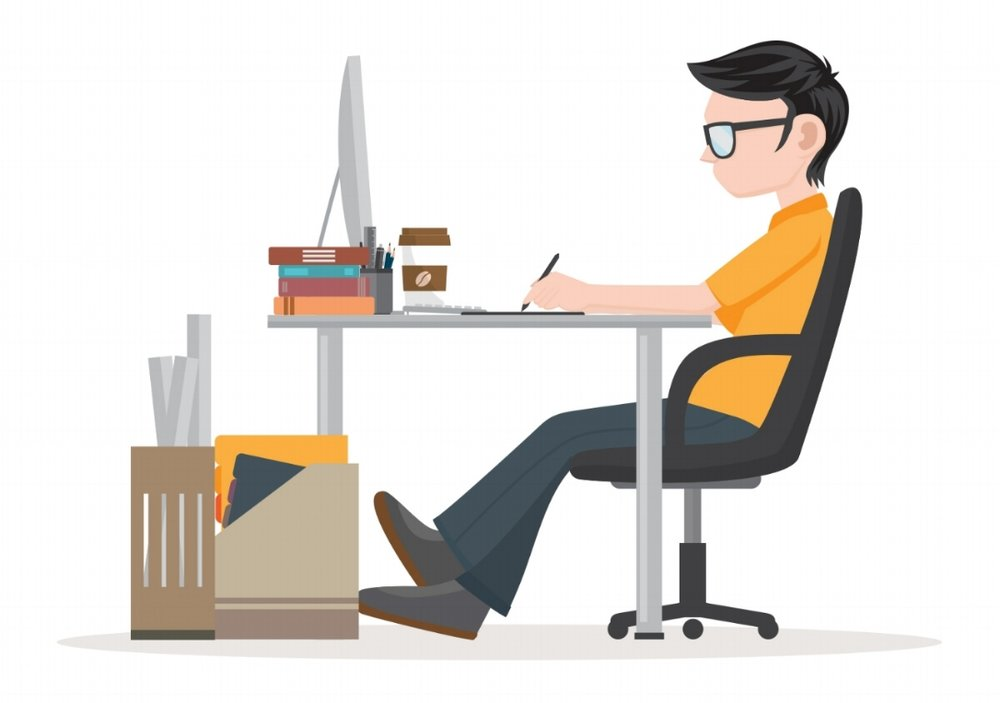 A graphic design with a white background of a boy comfortably sitting on office wheelchair in front of a desktop while looking at the monitor. He is drawing something so maybe he is a graphic designer.
