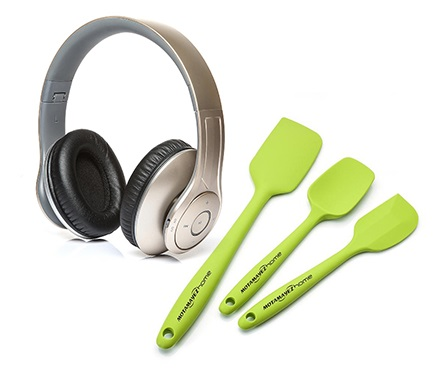 A headset and 3 pieces of green baking spatula in a white background that has been captured by Virtuous Graphics professional photographer.
