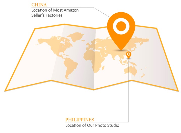 A vector map of the world in flat style with a big and small orange locator. The big locator is placed at China then the other one is placed at the Philippines where Virtuous Graphics studio and professional photographer is located.